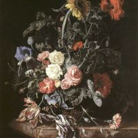 Aelst Willem Van Flowers On A Stone Ledge With Butterflies A Snail And A Spider
