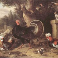 Bogdani Jacob Cockerels Hens A Turkey And Other Birds In An Italianate Garden