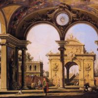 Canaletto Capriccio Of A Renaissance Triumphal Arch