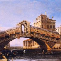 Canaletto Capriccio Of The Rialto Bridge With The Lagoon Beyond