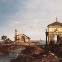 Canaletto Capriccio With Venetian Motifs