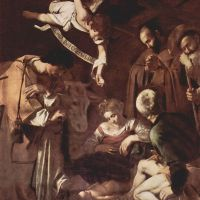 Caravaggio The Nativity With St Francis And St Lawrence
