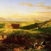 Cole The Temple Of Segesta With The Artist Sketching