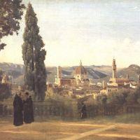 Corot Florence Vue Prise Des Jardins Boboli