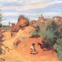 Corot Genzano Chevrier En Vue D Un Village