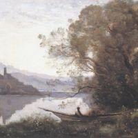 Corot Le Batelier Amarre Souvenir D Un Lac Italien