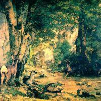 Courbet Gustave Cerfs Au Ruisseau De Plaisir Fontaine