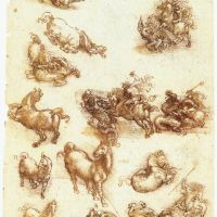 Da Vinci Study Sheet With Horses And Dragons
