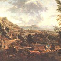 De Moucheron Frederick Paysage Avec Des Fauconniers