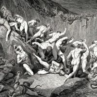Dore Gustave 53. Naked Souls Are Being Haunted Through This Cruel Barren Land Of Serpents Without