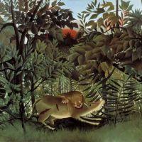 Douanier Rousseau Le Lion Affamme Se Jette Sur Antilope