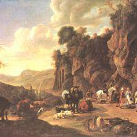 Dujardin Carel Paysage Italien Avec Des Paysans En Train De Danser