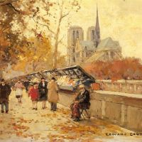 Edouard Cortes Booksellers Along The Seine With A View Of Notre Dame