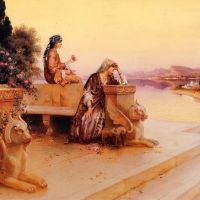 Ernst Elegant Arab Ladies On A Terrace At Sunset
