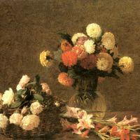Fantin-latour Henri Dahlias Roses Glaieuls