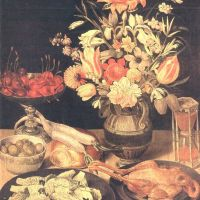 Flegel Georg Still Liffe With Flowers And Food