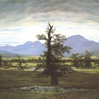 Friedrich Caspar David The Lone Tree Village Landscape In Morning Light