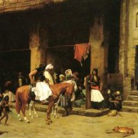 Gerome A Street Scene In Cairo