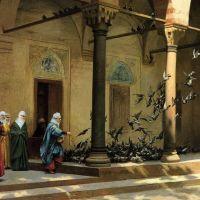 Gerome Harem Women Feeding Pigeons In A Courtyard