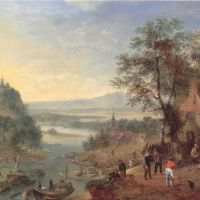 Griffier Robert Rheinish Landscape With Barges Unloading And Peasant Merrymaking Outside An Inn