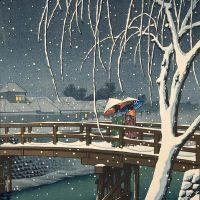 Hasui Kawase Evening Snow At Edogawa 1932