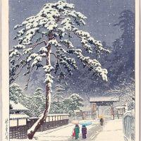 Hasui Kawase Honmon Temple In Snow 1931