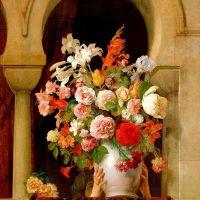 Hayez Francesco Bouquet Place Par Une Femme Vase Of Flowers Placed By A Woman In The Window Of A Harem