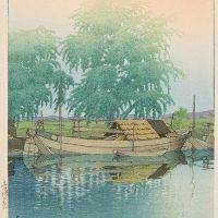 Kawase Hasui Early Morning Scene With Moored Boats 1931