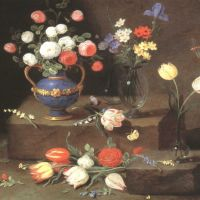 Kessel Jan Van Still Life With Roses In A Lapis Lazuli Ewer And Other Flowers On Glass Vases