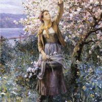 Knight Gathering Apple Blossoms
