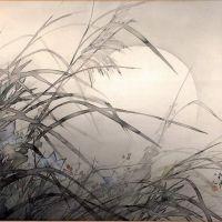 Matsubayashi Keigetsu Painting Of Autumn Moon And Grasses