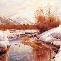 Monsted A Mountain Torrent In A Winter Landscape