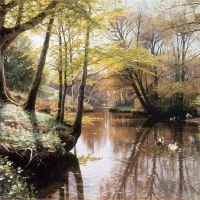 Monsted A River Landscape In Springtime