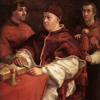 Raphael Pope Leo X With Cardinals Giulio De- Medici And Luigi De Rossi