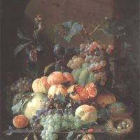 Roepel Coenraet Still Life With Fruit On A Hedge Under An Arch