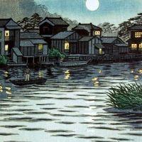 Shiro Kasamatsu Rising Moon At River Katase 1953