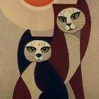 Tomoo Inagaki Two Cats In Front Of Sun C.1960