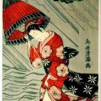 Torii Kiyomitsu I Woman With An Umbrella In A Storm