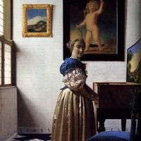 Vermeer A Lady Standing At A Virginal