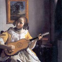 Vermeer Youg Woman Playing A Guitar