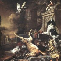 Weenix Jan An Imaginary Palace Garden With A Still Life Of Dead Game And Hunting Implements