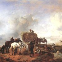 Wouwermann Philips A Peasant Giving Fodder To Card Horses With Bathers In A Stream