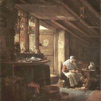 Wyck Thomas A Maid Peeling Vegetable At A Kitchen Door