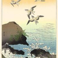 Yoshimoto Gesso Swallows And Waves 1930