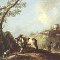 Zuccarelli Francesco Italian Landscape With A Huntsman Resting By A Stream