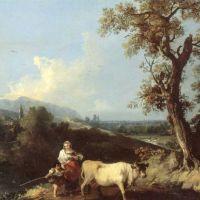 Zuccarelli Francesco Italianate Landscape With Peasants Driving A Cow